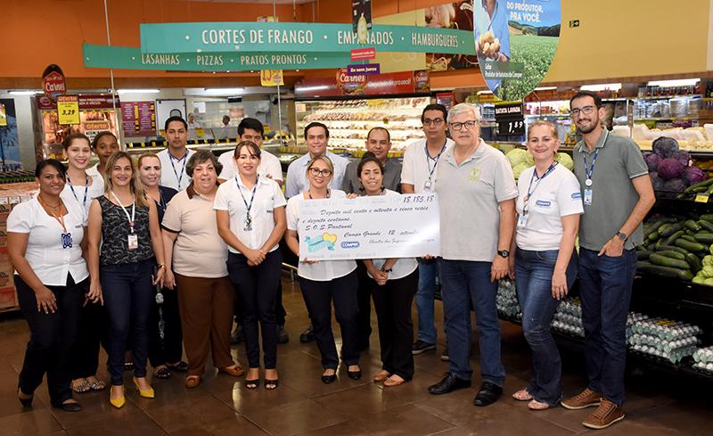 Instituto recebeu R$ 18 mil do Troco Solidário, valor arrecado entre julho e agosto com moedas de clientes da Rede Comper